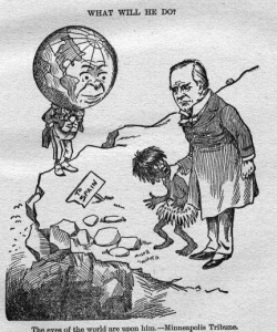 A pro-McKinley political cartoon which presents a false choice.